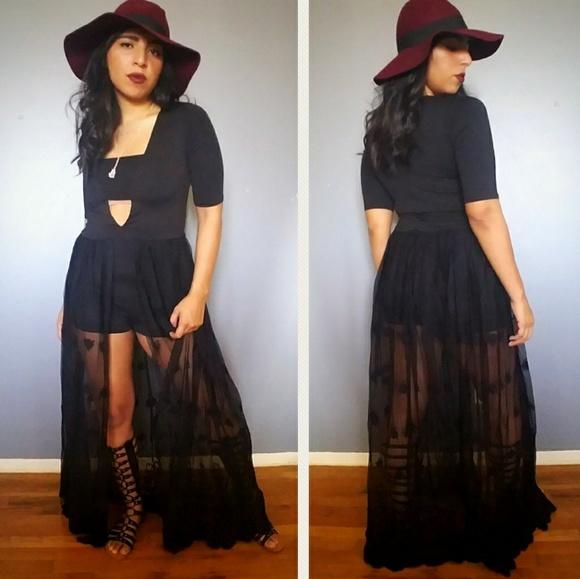 9e96caf1d05 Dresses   Skirts - Boho Black Lace Maxi Romper